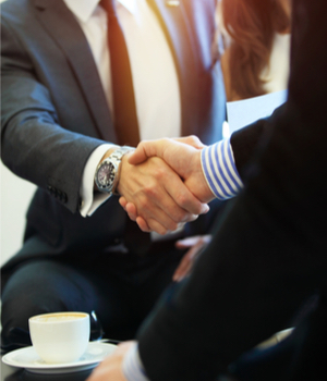 businessman meets a prospective employee for interview