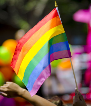 a gay pride flag waves at a rally