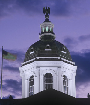 New Hampshire statehouse dome at sundown
