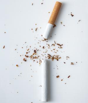 a cigarette is broken in half