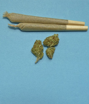 two marijuana joint cigarettes
