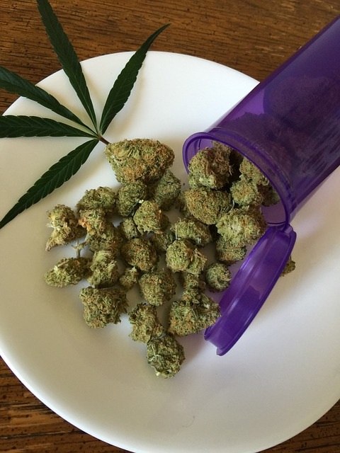 a medicine bottle full of marijuana