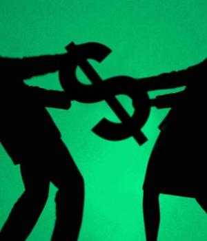 man and woman fighting over money