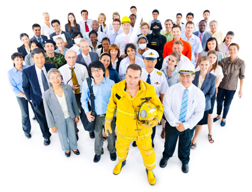 A crowd of professionals gathers wearing their various work uniforms