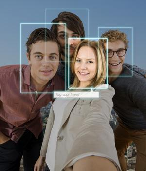 facial recognition software analyzing faces