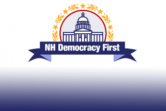 NH Democracy First banner with state house