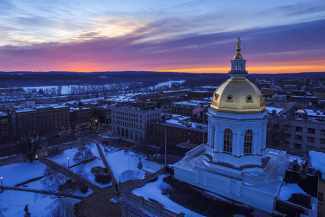 NH statehouse at sunrise concord new hampshire